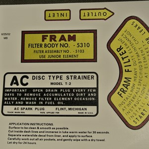 DECAL SET FRAM OIL FILTER AND FUELSTRAINER MB