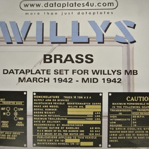 DATAPLATE SET FOR WILLYS MB MARCH 1942 - MID 1942