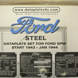 DATAPLATE SET FOR FORD GPW START 1943 - JAN 1944