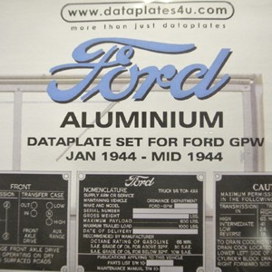 DATAPLATE SET FOR FORD GPW JAN 1944 - MID 1944