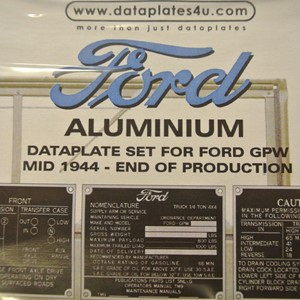 DATAPLATE SET FOR FORD GPW MID 1944 - END OF PRODUCTION