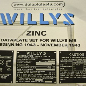 DATAPLATE SET FOR WILLYS MB BEGINNING 1943 - NOVEMBER 1943