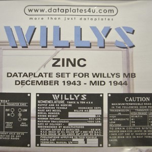 DATAPLATE SET FOR WILLYS MB DECEMBER 1943 - MID 1944