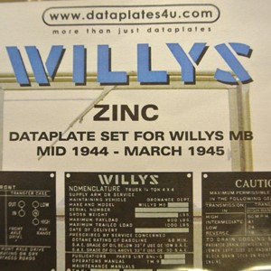 DATAPLATE SET FOR WILLYS MB MID 1944 - MARCH 1945