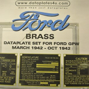 DATAPLATE SET FOR FORD GPW MARCH 1942 - OCT 1942