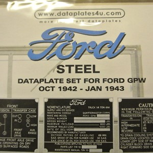 DATAPLATE SET FOR FORD GPW OCT 1942 - JAN 1943